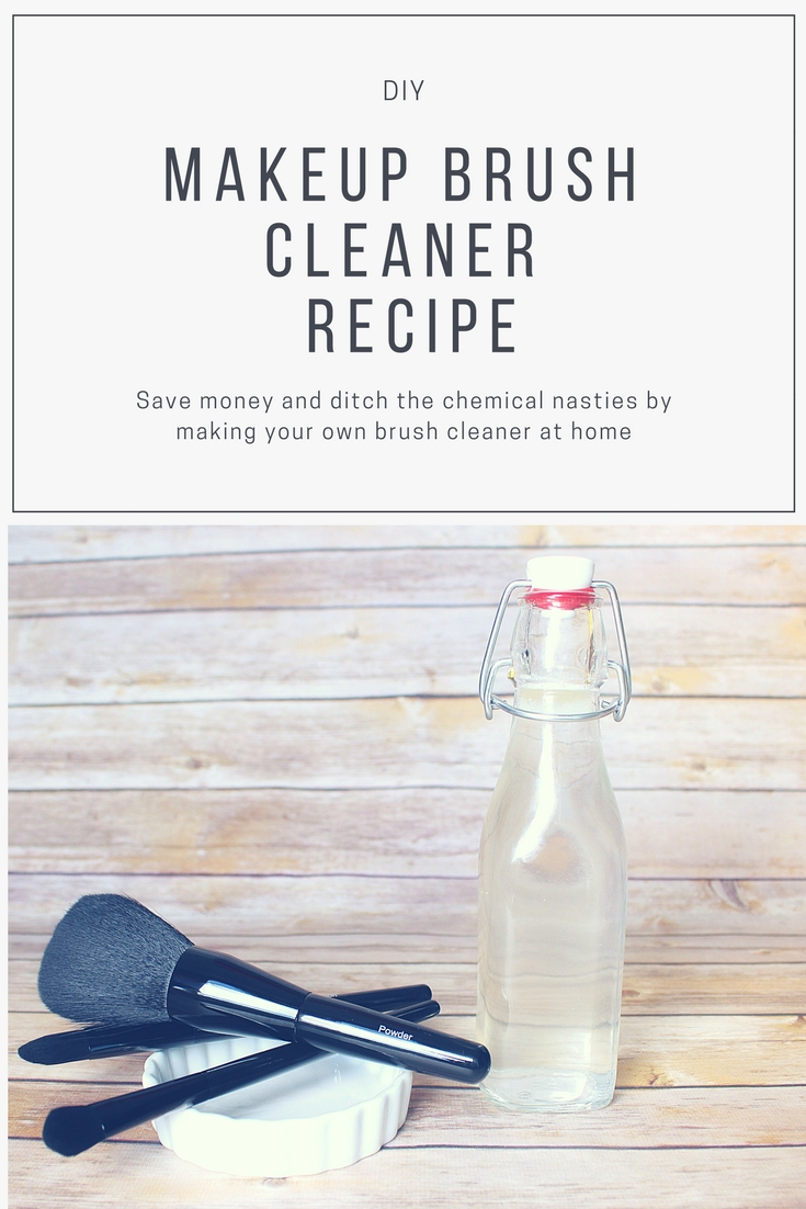 DIY Makeup Brush Cleaner recipe.  Save money and ditch the chemical nasties by making your own cleaner at home.