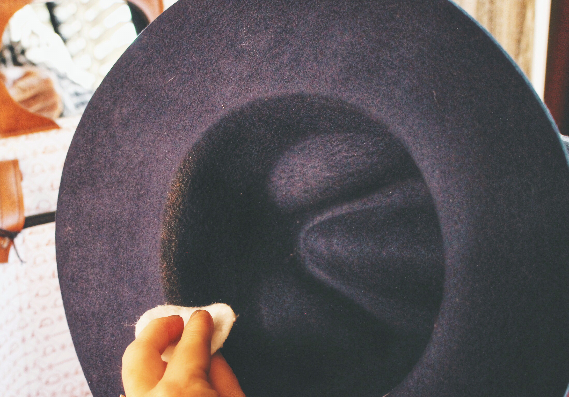 How to remove makeup from a felt hat