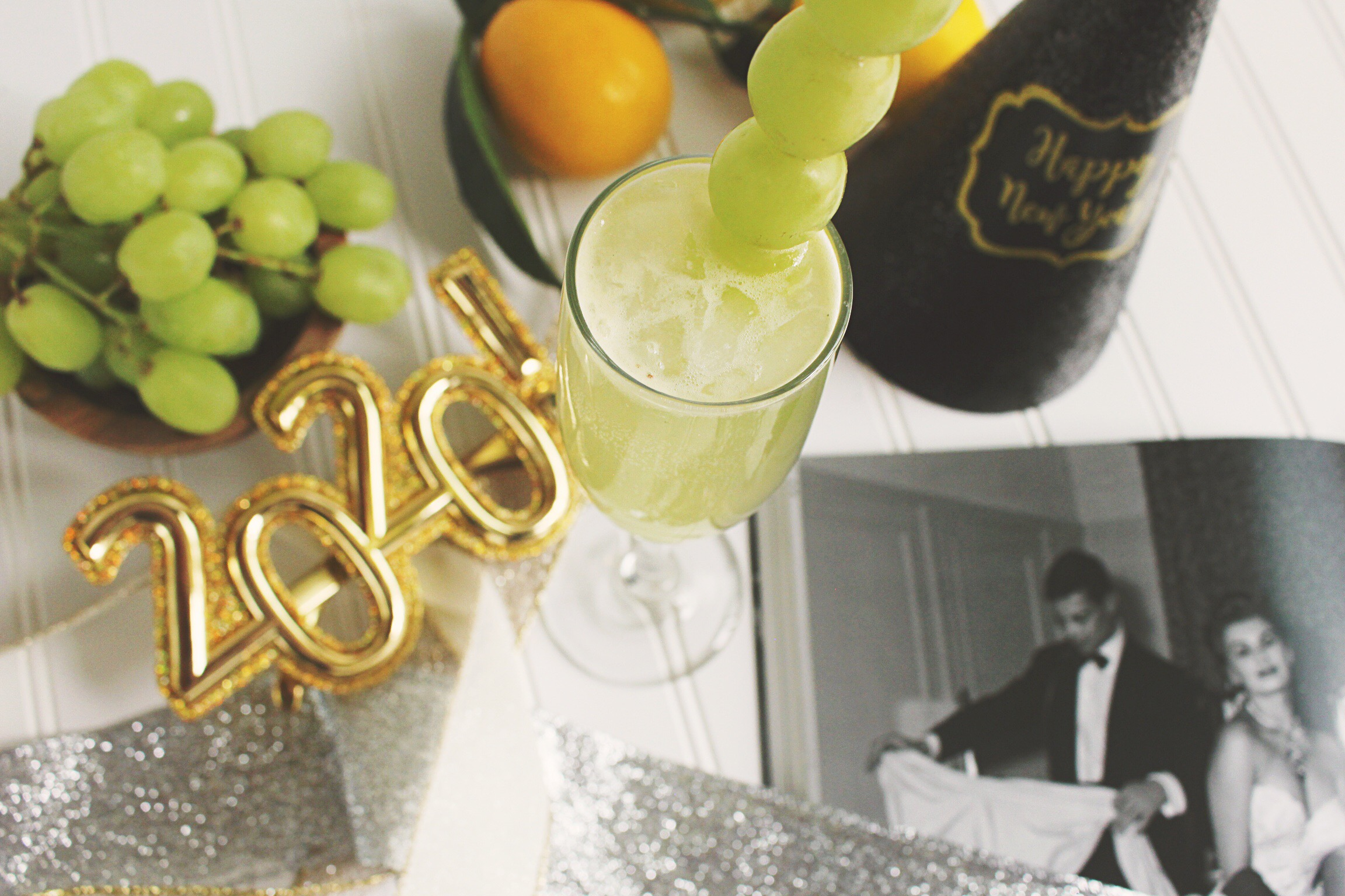 New Year's Eve French 75 Twelve Grape Cocktail